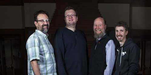 University of Alberta computing science professors (L-R) Ryan Hayward, Martin Mueller, Rich Sutton, and Michael Bowling from the Computer Games and Reinforcement Learning research groups, who supervised AlphaGo researchers David Silver, Aja Huang, and Marc Lanctot during their time at the University of Alberta.