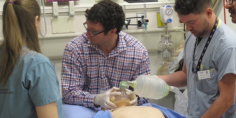 Critical care trainees undergo critical event simulation training in UAlberta's Health Sciences Education and Research Commons.