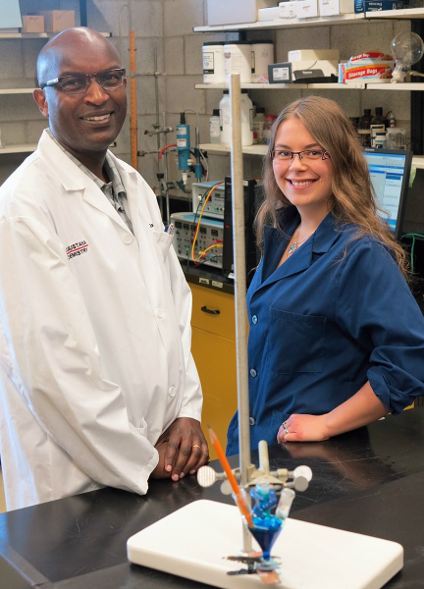 Emily Ervin with her professor and mentor, James Kariuki.