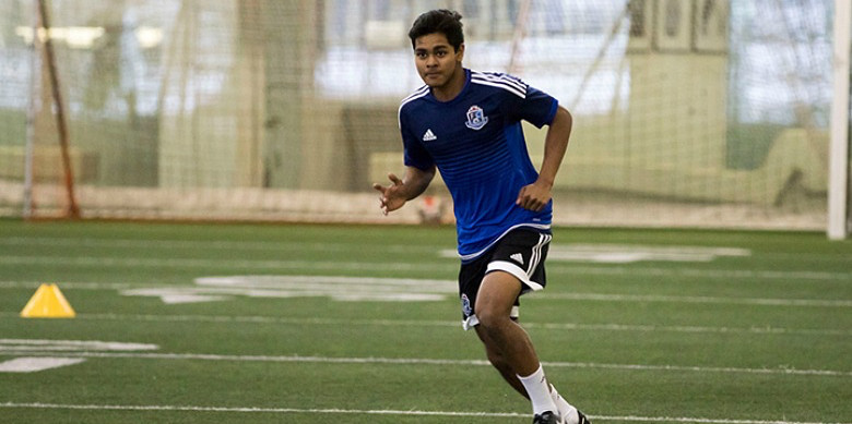 Engineering student Shamit Shome balances studies and sports as a midfielder with the pro soccer team FC Edmonton. (Photo: FC Edmonton)