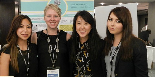 (From left) Diana Nguyen, Stacey Seufert, Christie Cheng and Anastassia Astrakhantseva took top prize at a national food development student competition with their delicious and nutritious creation, Pulse Pops.