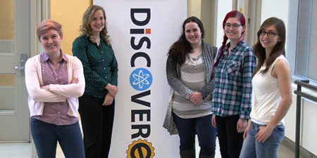 (From left) DiscoverE staff members Anne McDonald, Alyssa Boyle, Meagan O'Shea, Emma McDonald and Ashley Stoltz celebrate a record third Google RISE award for their outreach program.