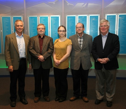 (From left) Steve McQuarrie, Doug Abrams, Katie Gagnon, John Wilson and Sandy McEwan of Belgravia Tech Inc.