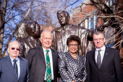 Full circle (from left): Past presidents Myer Horowitz, Rod Fraser and Indira Samarasekera came back to campus to congratulate President David Turpin on his installation Nov. 16.