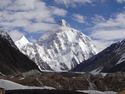 "K2, as viewed from Concordia (4,550 metres above sea level), called the ""Throne Room of the Mountain Gods"" for the number of visible peaks over 7,000 metres."