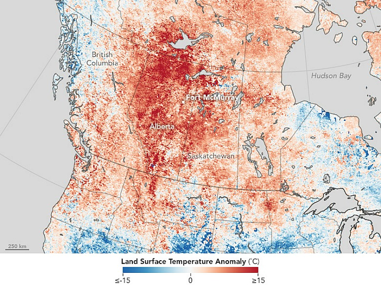 Map showing land surface temperature from April 26–May 3, 2016, compared with the 2000–2010 average for the same one-week period. Red areas were hotter than average and blue areas were below average. (Image- NASA Earth Observatory)