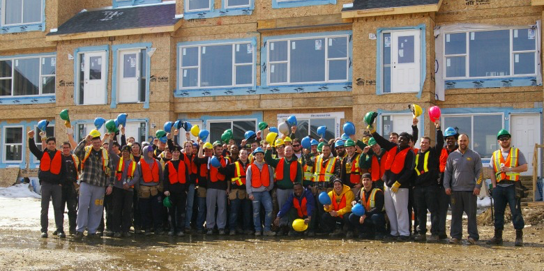 More than 70 student-athletes from the Golden Bears football team turned out to help Habitat for Humanity Edmonton build the largest housing development in the organization's Canadian history.