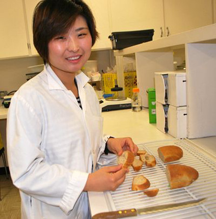 PhD student Cindy Zhao bakes up some savoury sourdough bread with half the salt.