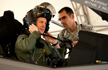 A pilot wearing a special head-mounted display in the helmet of his F-35 jet fighter is one of the most sophisticated examples of augmented reality. (Photo: U.S. Air Force/Samuel King, Jr.)
