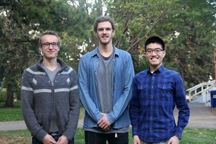 (From left) UAlberta engineering students John Grey, Darian Van Paridon and Henry Su