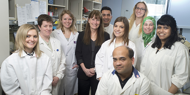 Sandy Davidge, the director of WCHRI (center) and her team at the lab. (Photo: WCHRI)