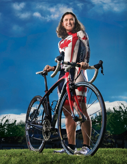 Tara Whitten in her Canadian Olympic cycling gear.