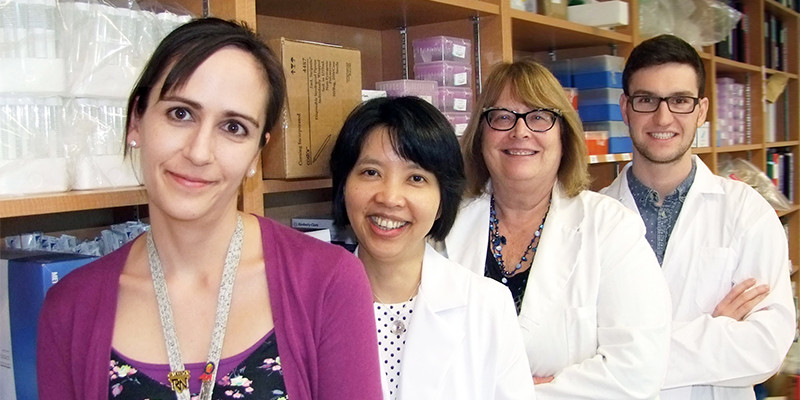 The complete team that performed the clinical study. From left to right: Brandi Roach (nurse), Dina Kao, Karen Madsen and Braden Millan (graduate student and first author of the paper).