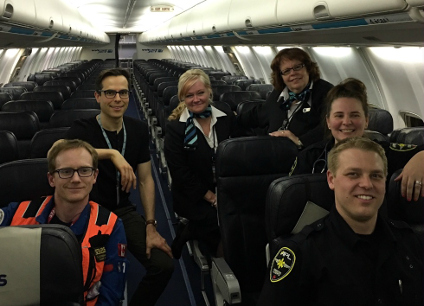 The evacuation flight team (from left): Domhnall O'Dochartaigh and Kevin Lobay with STARS, Janie Adam and Robin Feldberg with WestJet, and Chantel Rosenthal and Matt Lazarowich with APL