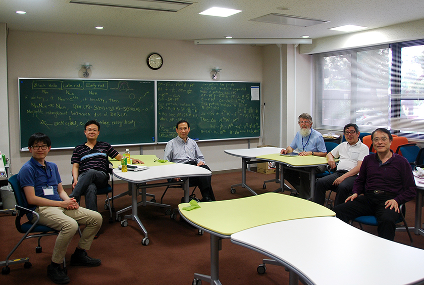 The five authors of the paper with another colleague during the discussion at the Yukawa Institute for Theoretical Physics (from left): Dong-han Yeom, Yen Chin Ong, Pisin Chen, Don Page, Yasusada Nambu and Misao Sasaki.