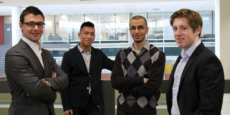UAlberta's winning team (from left): engineering students Brad Leonard, Henry Lau and Ahmed Ibrahim, and business student Scott Jelec.