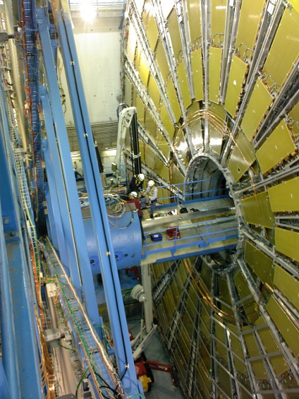 UAlberta employees install the LUCID subdetector for ATLAS at the Large Hadron Collider. (Photo supplied by Richard Soluk)