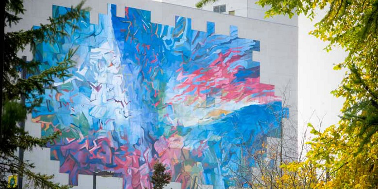 West and North, Norman Yates's mural on the Education North building, is one of the most recognizable landmarks on the University of Alberta campus. (Photo: Richard Siemens)