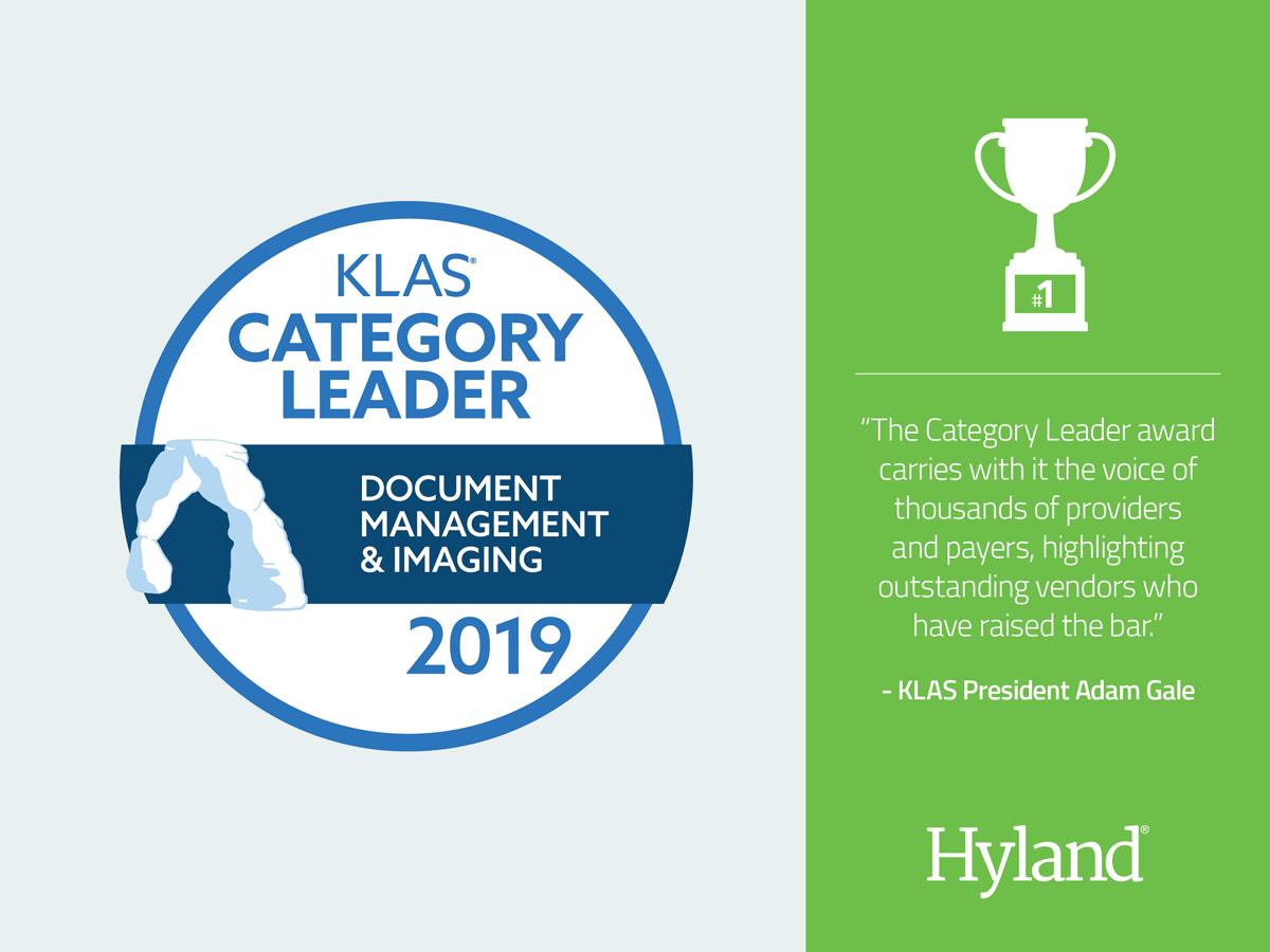 Spiksplinternieuw Hyland Named 2019 KLAS Category Leader for Document Management SM-18