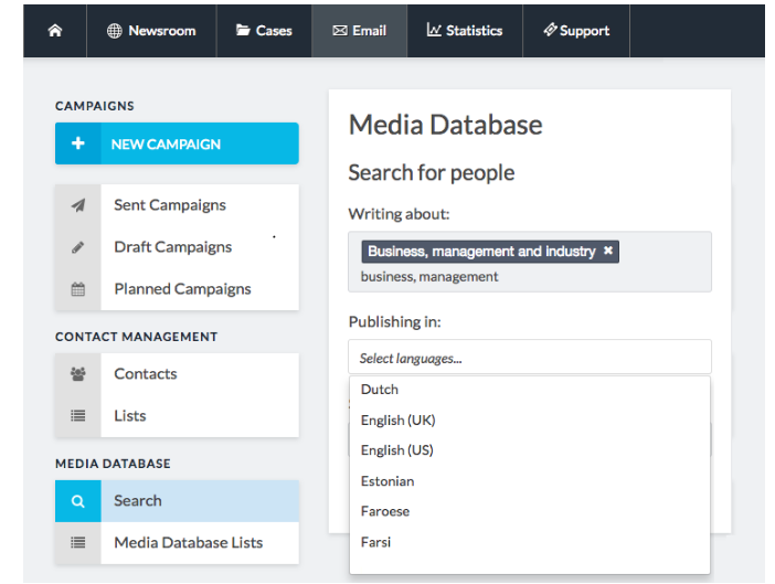 PressPage integrates Media Database with 800k+ journalists