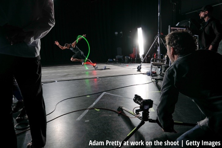 Adam Pretty at work on shoot
