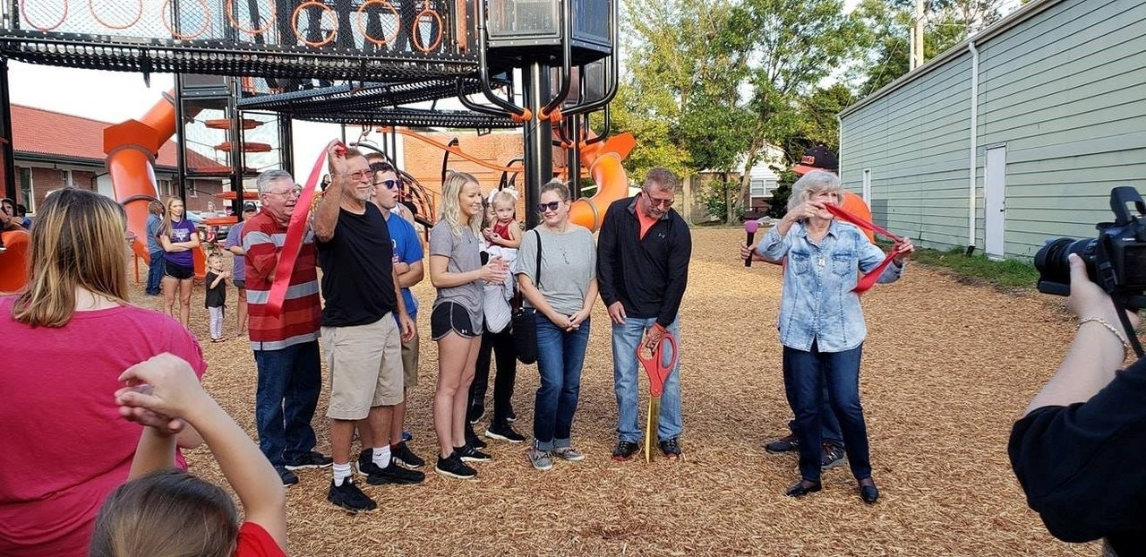 In October 2018, a community came together to celebrate Augusta's 150th anniversary, as well as cut the ribbon to the Dalton Palmer Memorial Play Park, built with the expertise of Sourcewell-awarded vendor Miracle Recreation Equipment, a subsidiary of PlayPower Inc. (Photo credit: www.ddpalmerpark.com)