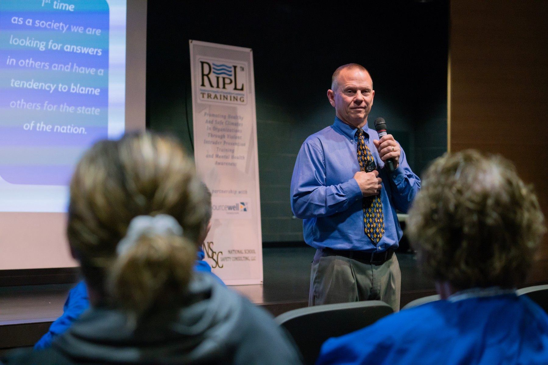 Scott Doss, former Pillager middle school principal and now co-owner of National School Safety Consulting, presents RIPL training for educators in the Wadena-Deer Creek School District.