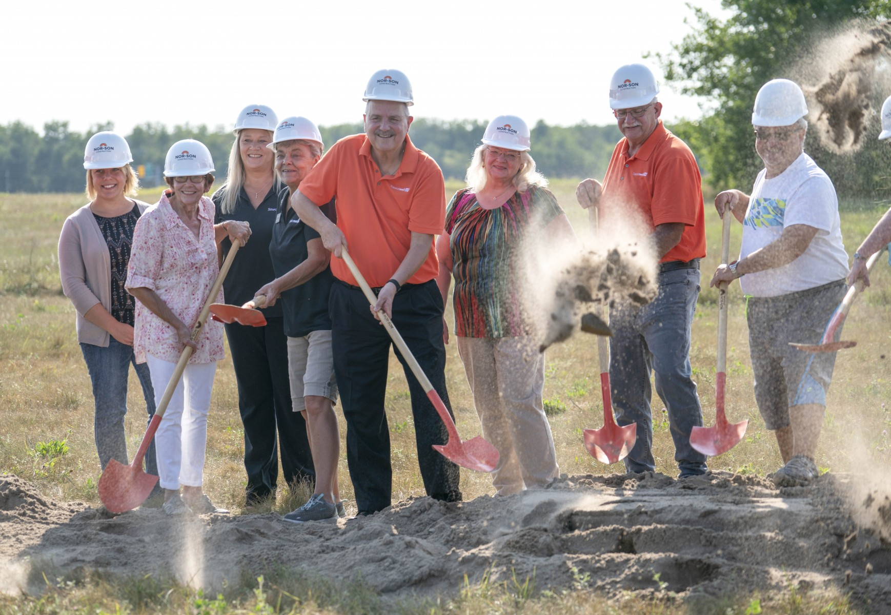Community leaders gather for the Mid-State Education District groundbreaking event in Little Falls, Aug. 15. A similar scene played out earlier in the summer in Wadena as ground broke for a Setting IV facility in the Freshwater Education District.