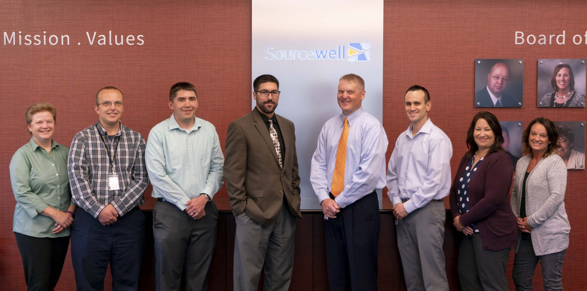 Sourcewell's procurement team, from left: Carol Jackson, Brandon Town, James Voelker, Jeremy Schwartz (CPO), Chris Robinson (manager), Michael Munoz, Kim Austin, and Sheila Christoffersen