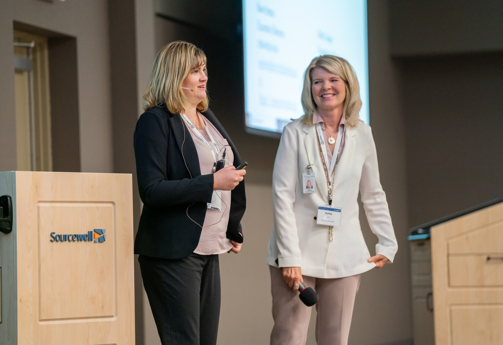 Rose Surma (left) of Oasis Central MN, Inc. and Kathy Lange of CHI St. Gabriel's Health presented at Sourcewell's Nonprofit Innovation Funding Review Day. Their project was selected for funding pending board approval.