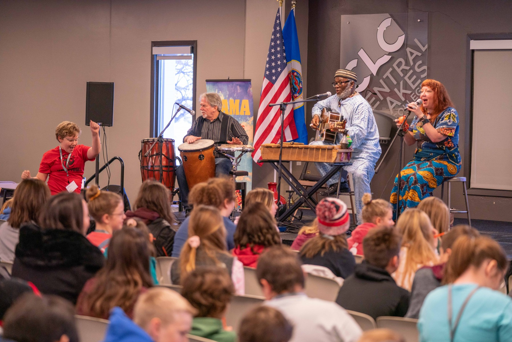 The African Conga Trio entertained aspiring authors, including a free-spirited student from the Pierz Public Schools at the 2019 Young Authors Conference, Nov. 13-14 at Central Lakes College – Staples campus. More than 350 students from 11 area schools and districts attended the hands-on workshop.