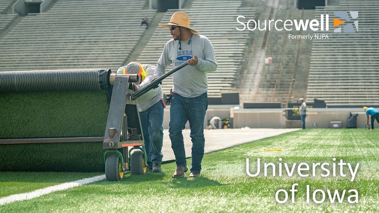In 2018, flooding and subsequent drainage issues ravaged Kinnick Stadium forcing the university's hand and requiring total turf replacement in 2019.  So, when the skies once again turned clear, the University of Iowa turned to Sourcewell.