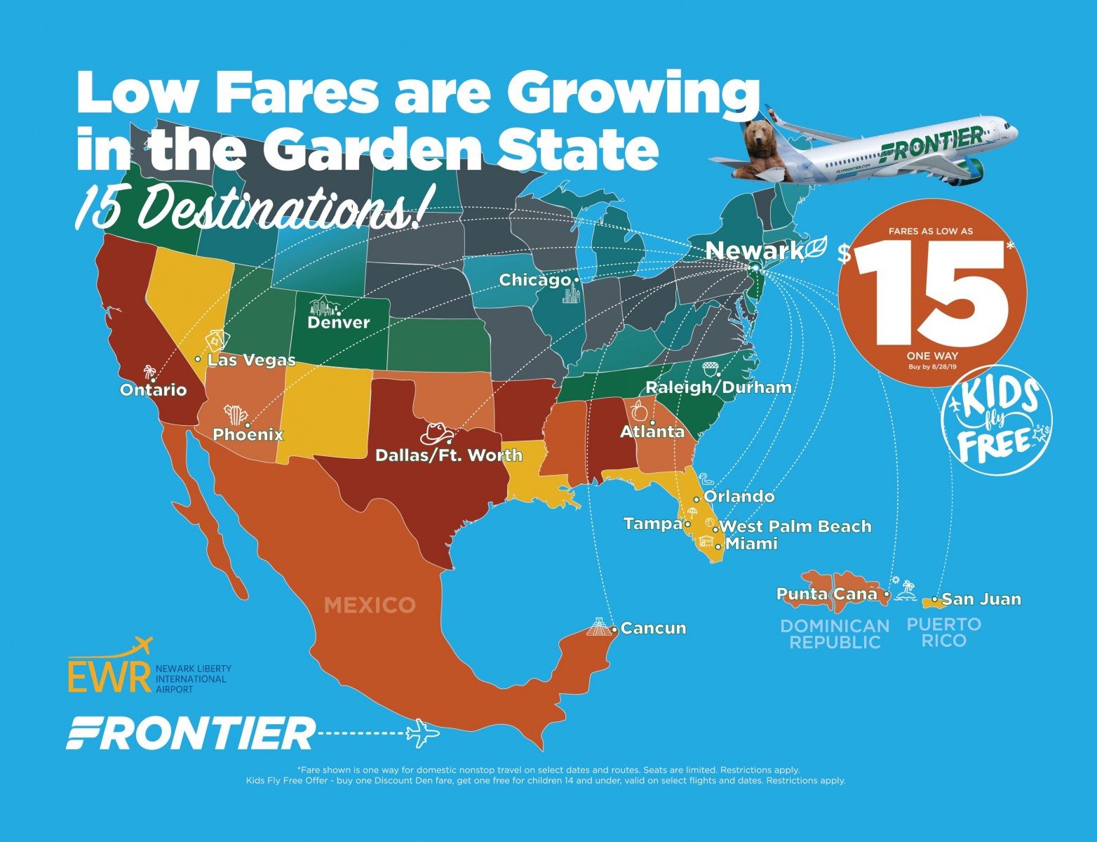 Frontier Airlines Announces 15 Nonstop Routes from Newark ...