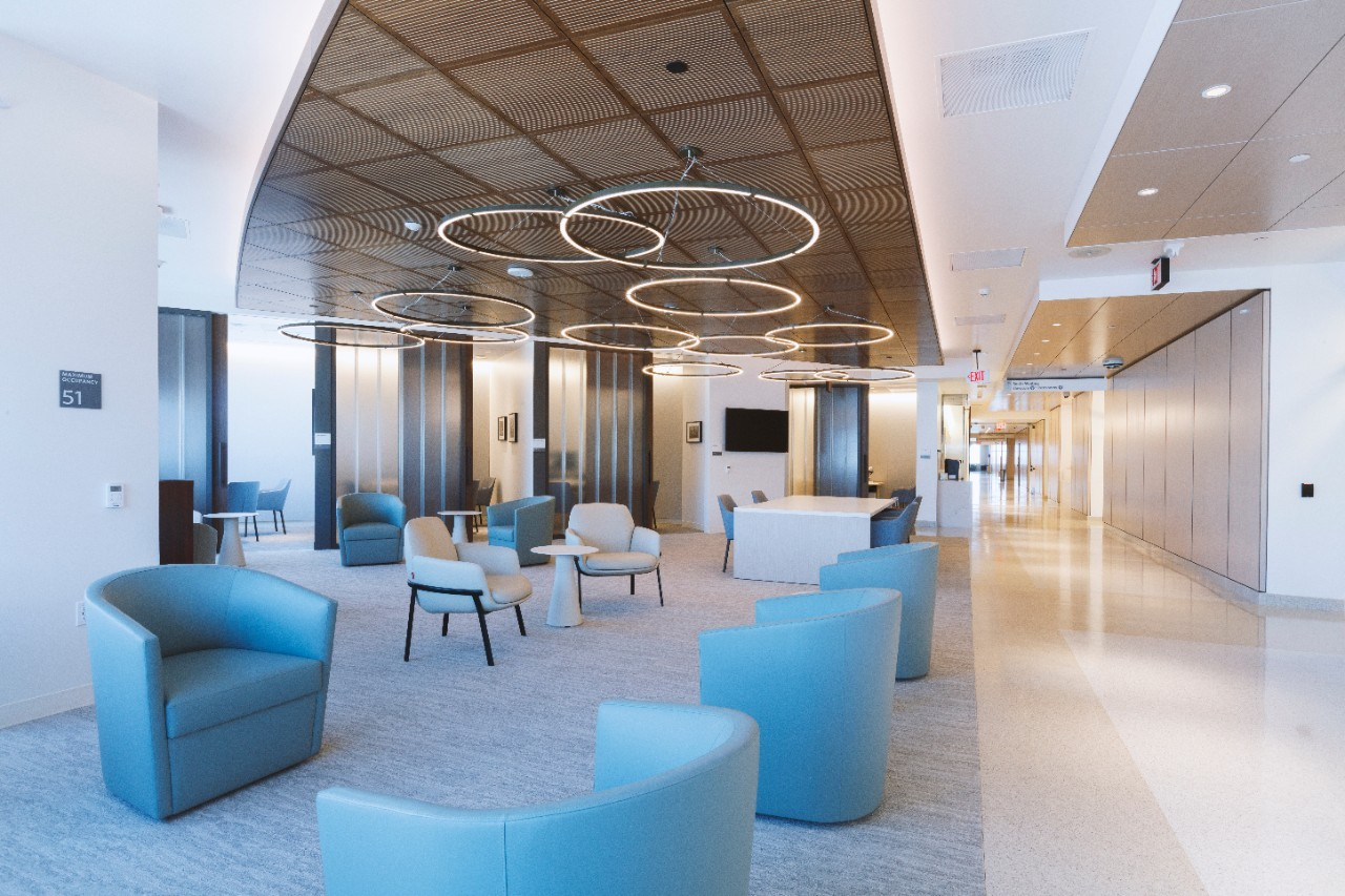 Adult waiting rooms are infused with soothing lighting and seats safely distanced from each other. Photo by Cedars-Sinai.