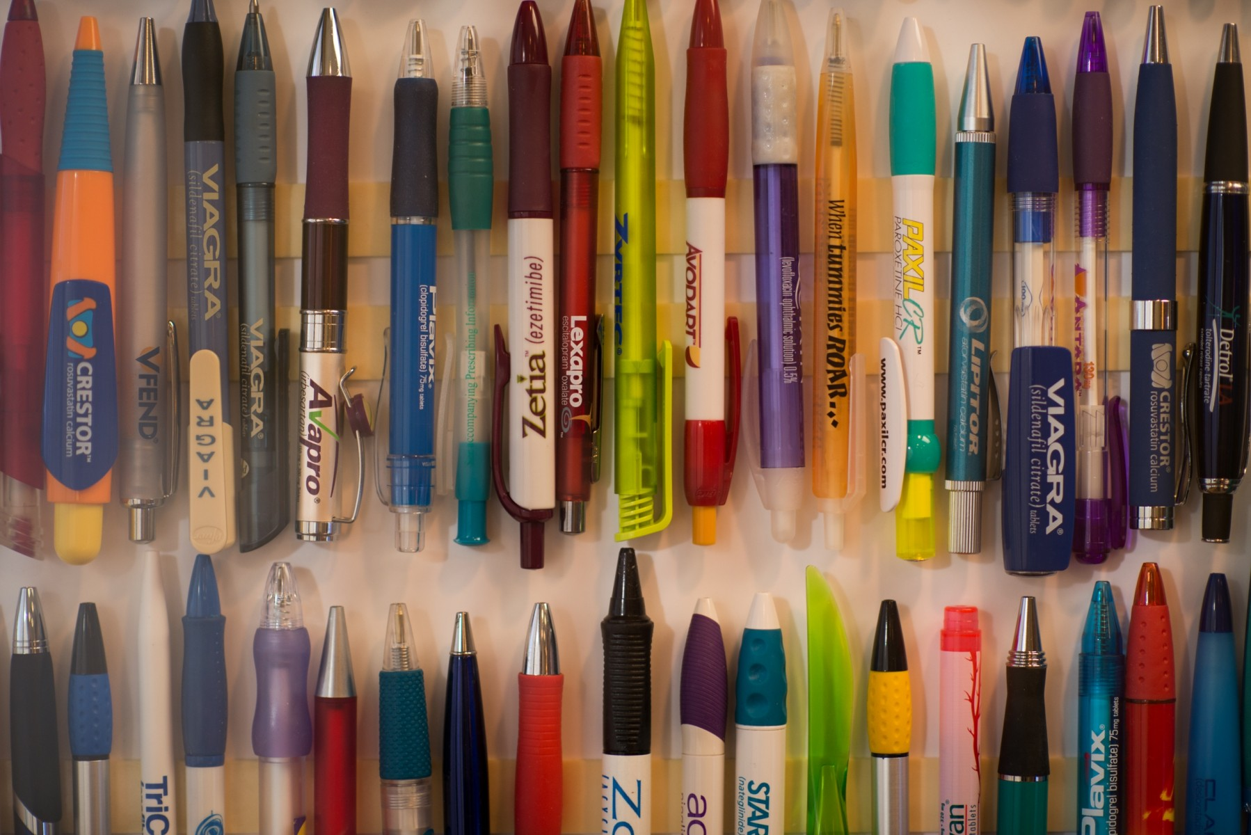 Physician Jeff Caran's pen collection. Photo by Cedars-Sinai.