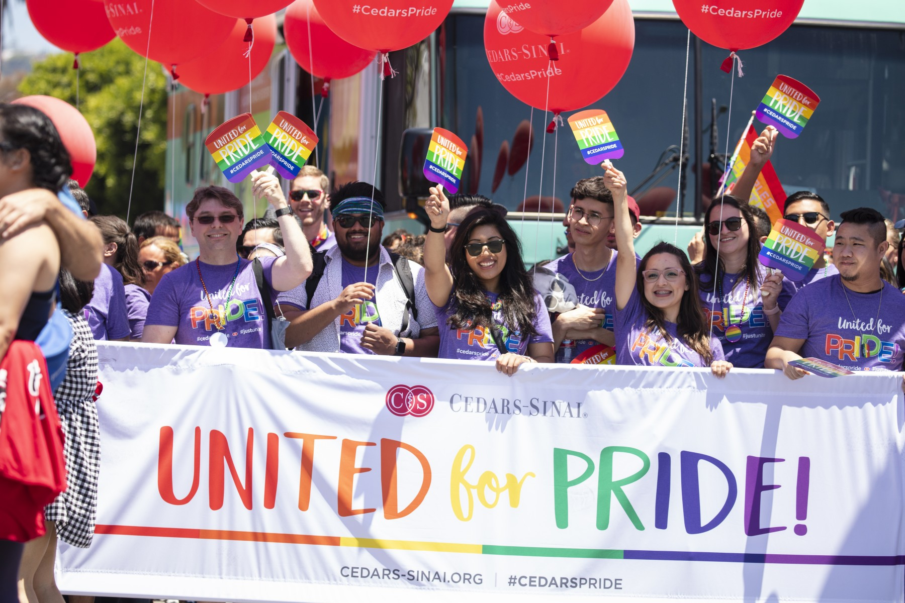 Cedars-Sinai employees and friends celebrate diversity, inclusion and equality at the 2019 LA Pride parade. Photo by Cedars-Sinai.