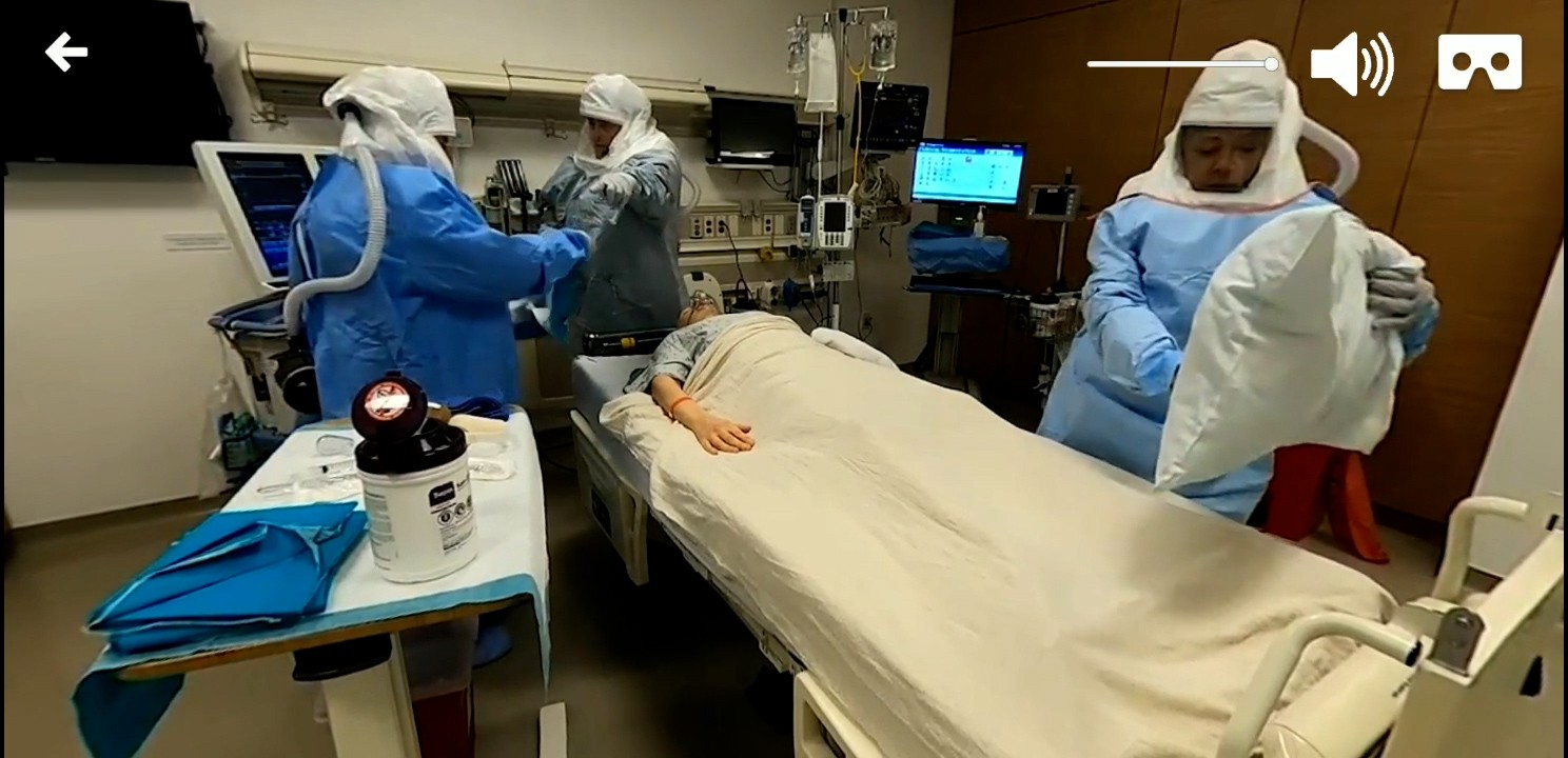 In a 360-degree training video, Special Pathogens Response Team members prepare to place a breathing tube in a mannequin. Photo by Cedars-Sinai.