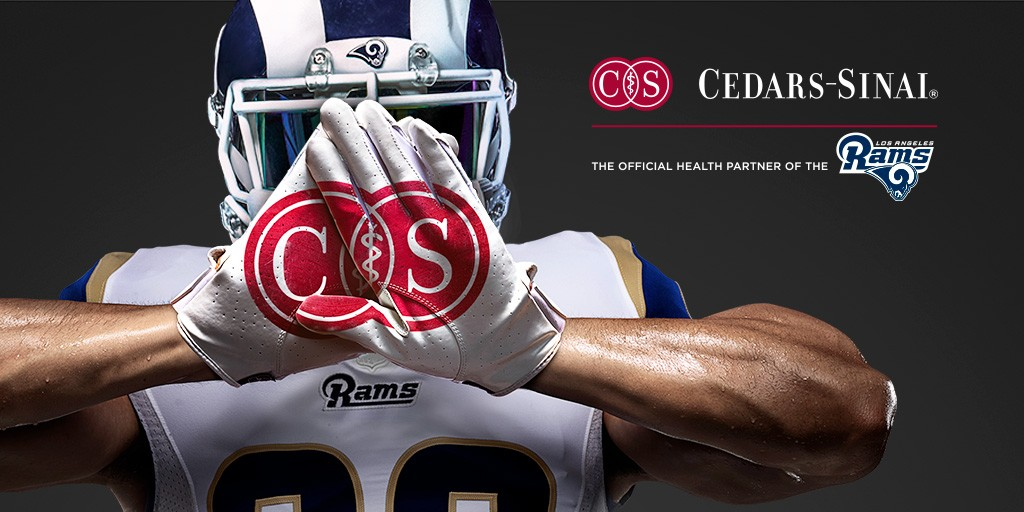 Cedars-Sinai is the official health partner of the Los Angeles Rams. Image by Cedars-Sinai.