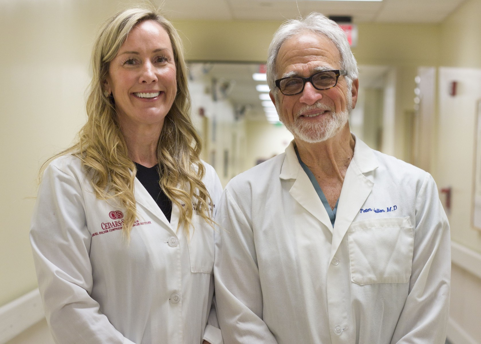 Heather McArthur, MD, and Peter J. Julien, MD, are planning studies to test cryotherapy's effectiveness in destroying breast cancer cells. Photo by Cedars-Sinai.