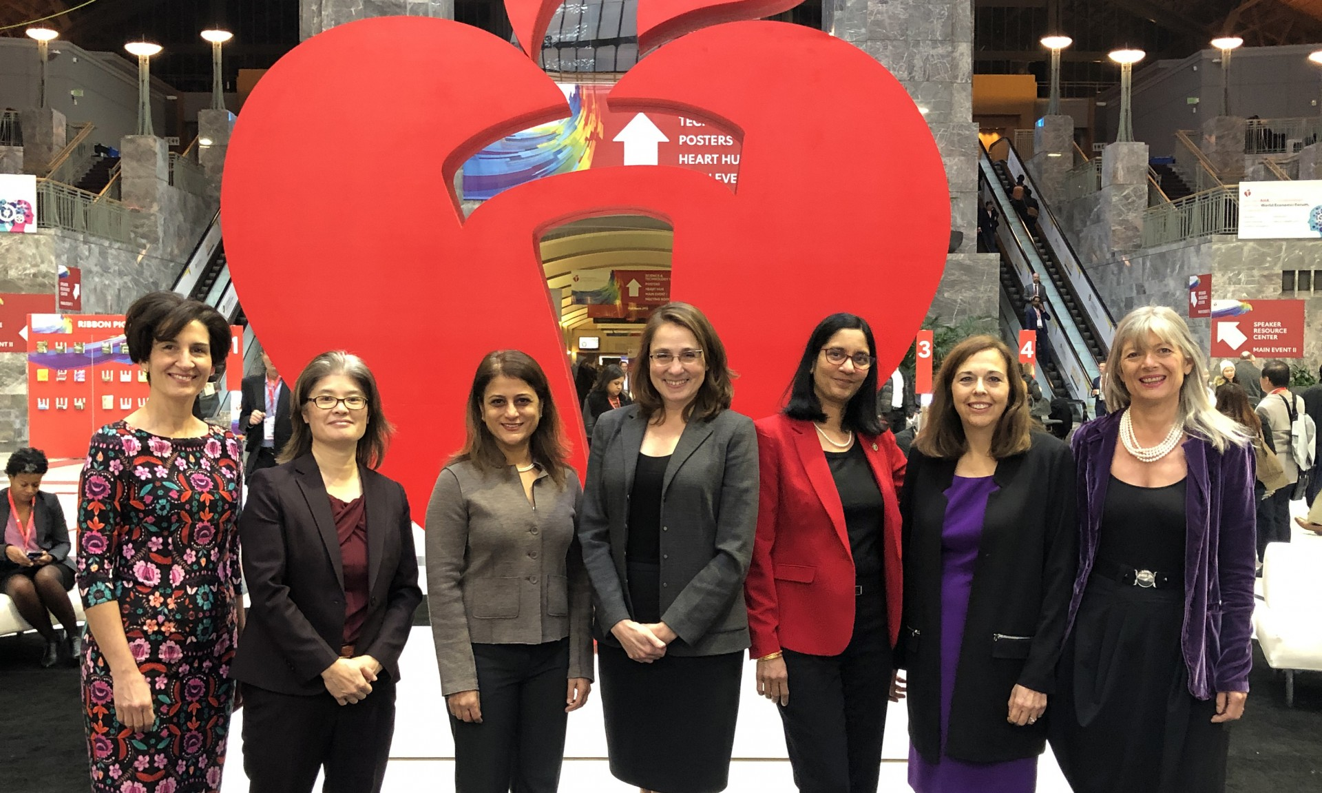 Women are leading many of the top cardiology groups. From left to right, Athena Poppas, MD; Judy Hung, MD; Maully Shah, MD; Christine Albert, MD, MPH; Sharmila Dorbala, MD, MPH; Andrea Russo, MD; Barbara Casadei, MD.  Photo courtesy of Philippe Bertrand, MD, PhD.