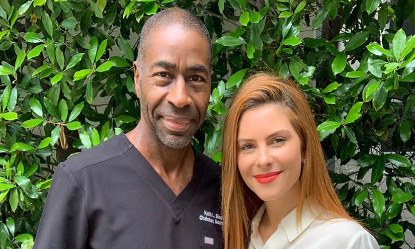 Neurosurgeon Keith Black, MD, with patient and podcast host Maria Menounos. Photo by Cedars-Sinai.