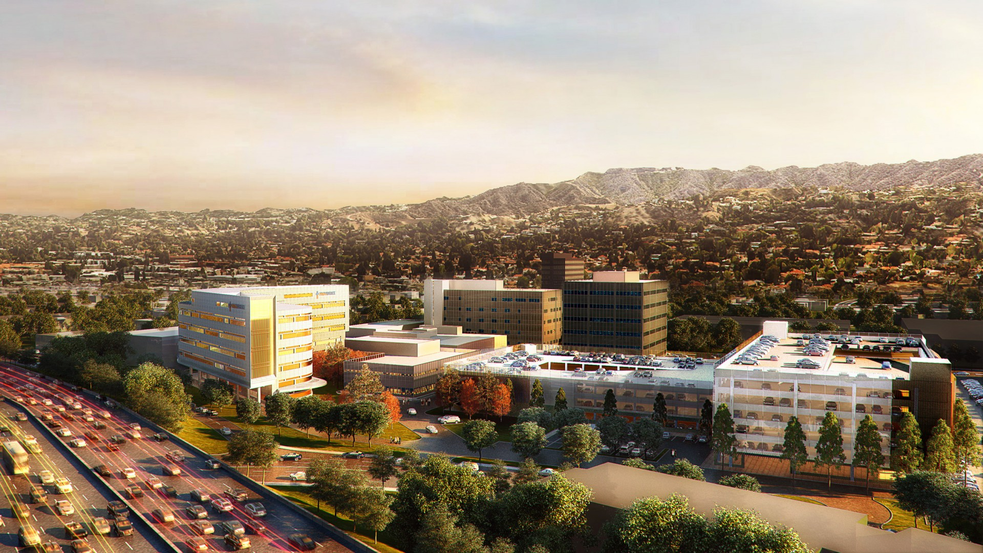 The new Providence Cedars-Sinai Tarzana Medical Center, as depicted in an architectural rendering that features a future hospital tower and parking structure. Image courtesy of Providence Tarzana Medical Center.
