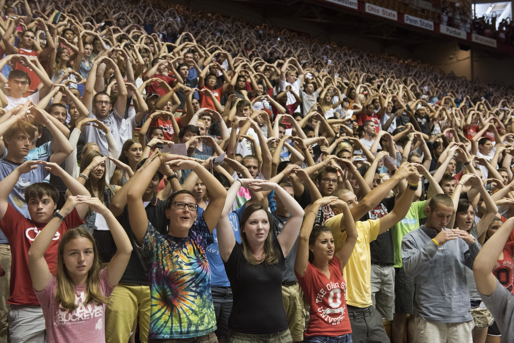 First-year students are led in an O-H-I-O chant at Convocation.