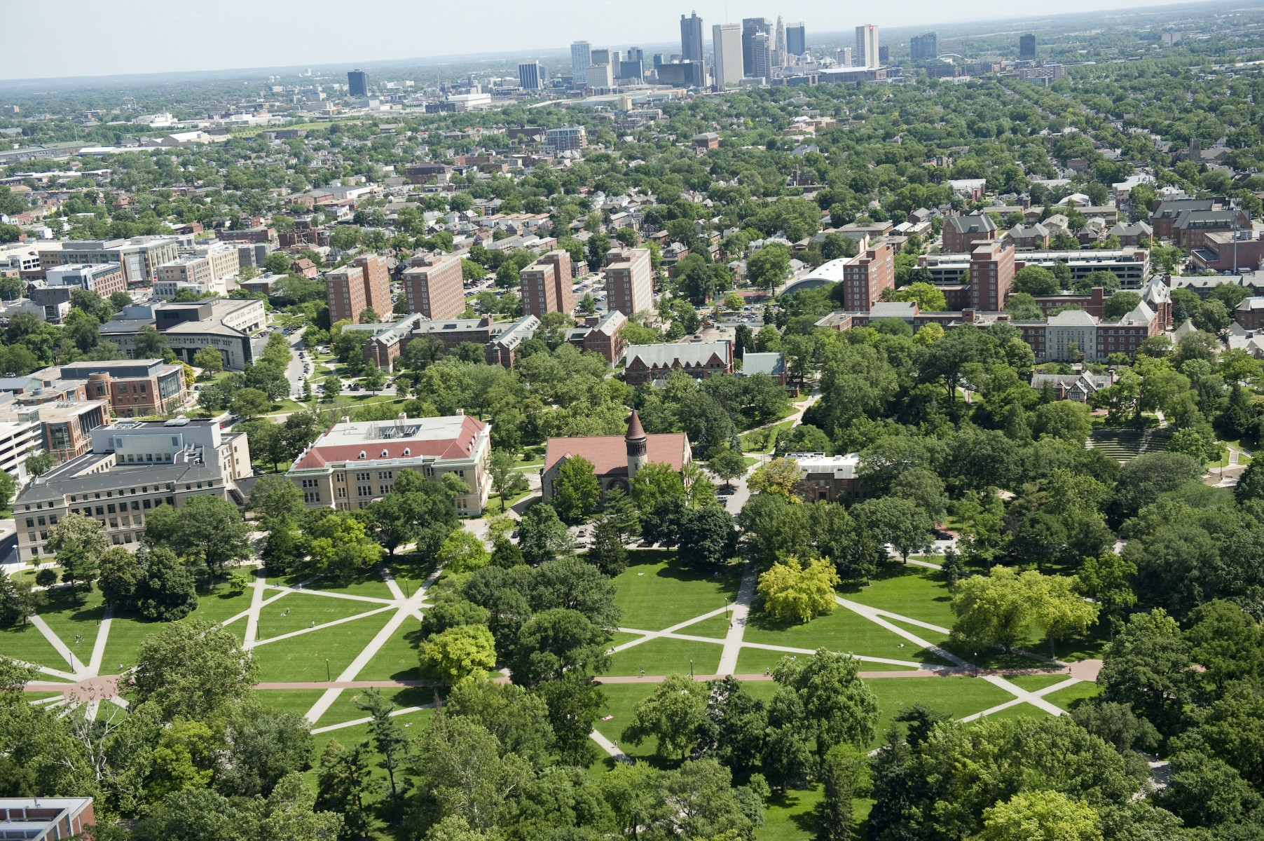 Aerial view of the Oval looking south toward Downtown Columbus