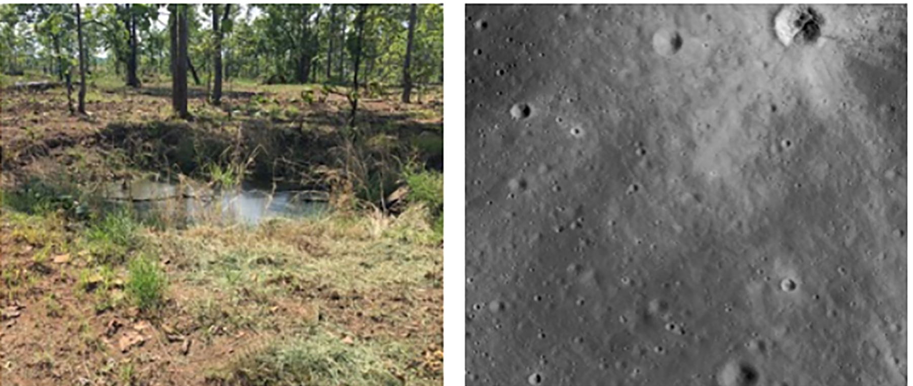 Bomb craters on Earth have similarities to meteor craters on the moon.