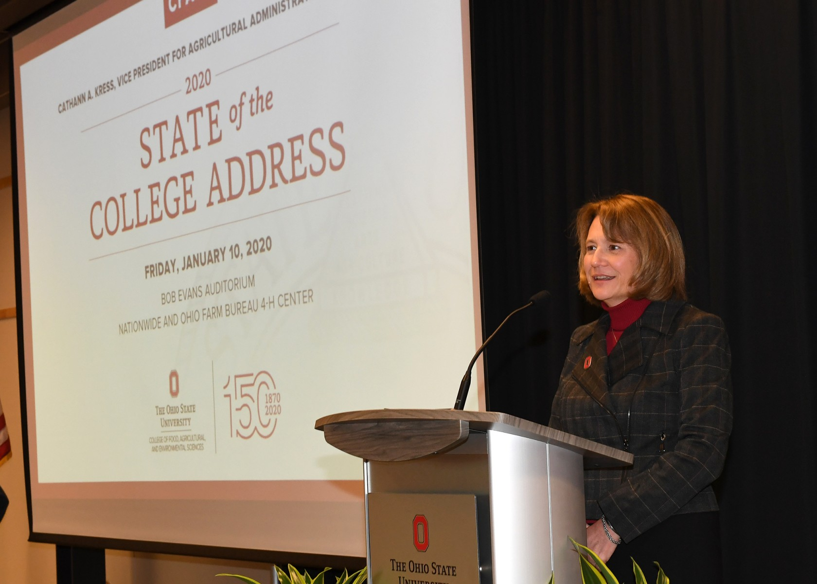 Cathann A. Kress, vice president of agricultural administration and dean of CFAES, delivered the state of the college address
