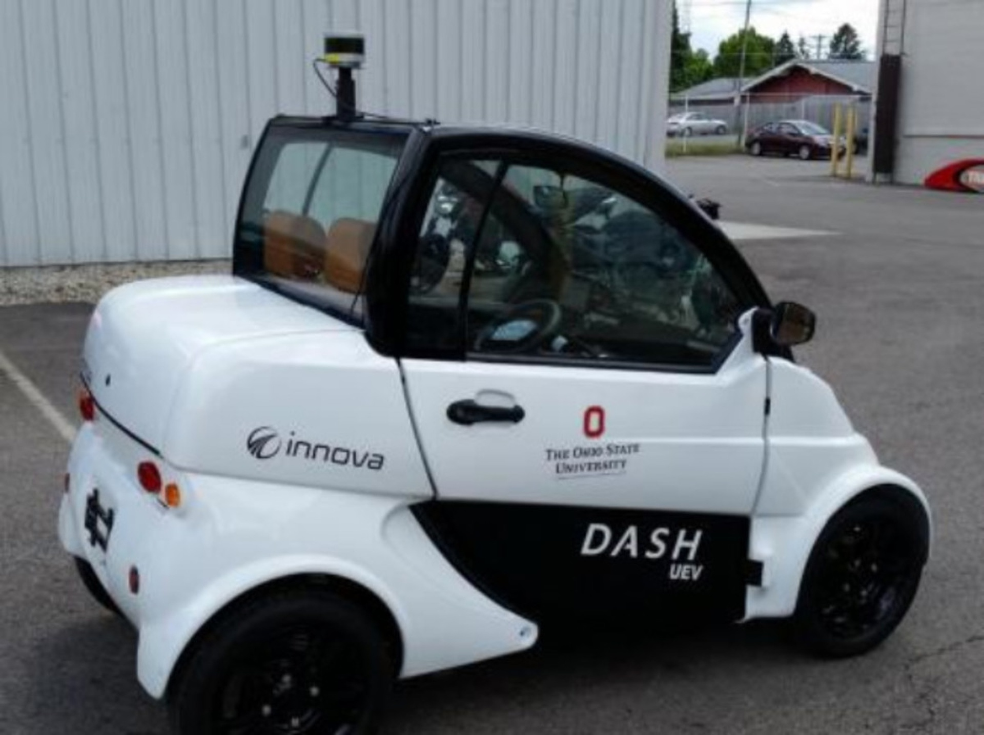 The two-seater Dash EV electric vehicle, donated by Innova UEV, is testing autonomous driving