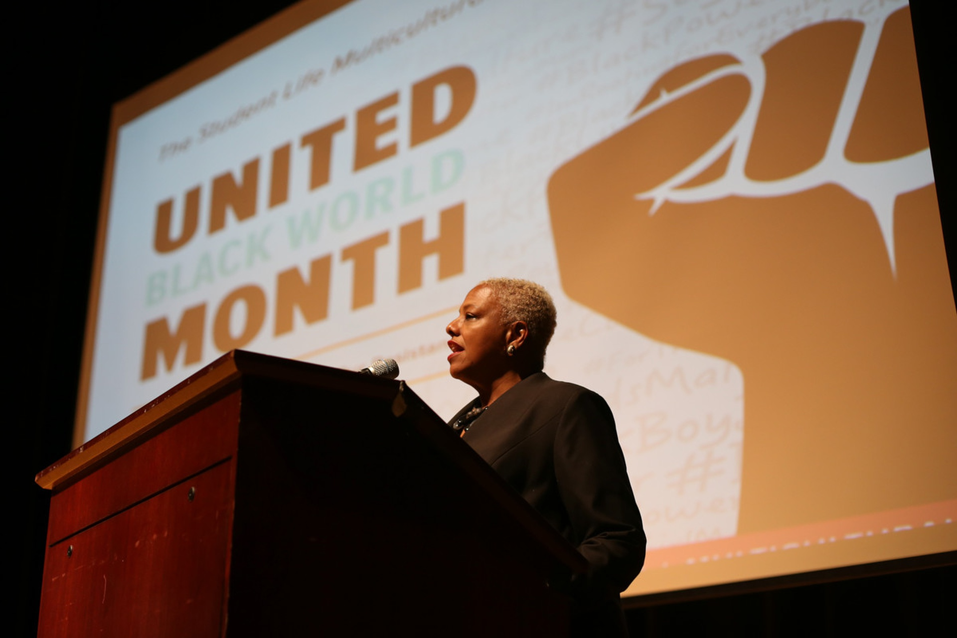 Javaune Adams-Gaston opens United Black World Month. Photo: Joshua Farr