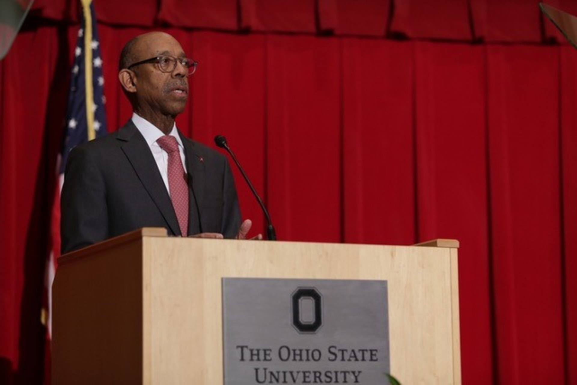 President Drake delivers the State of the University Address. Photo by Kevin Fitzsimons