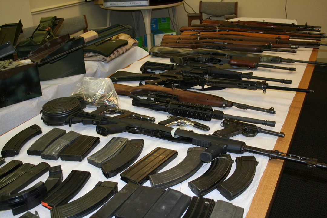 Firearms seized by California law enforcement  officers.